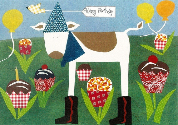 Happy Birthday Card Cupcake Cow  Greeting Card Primitive Folk Collage Art