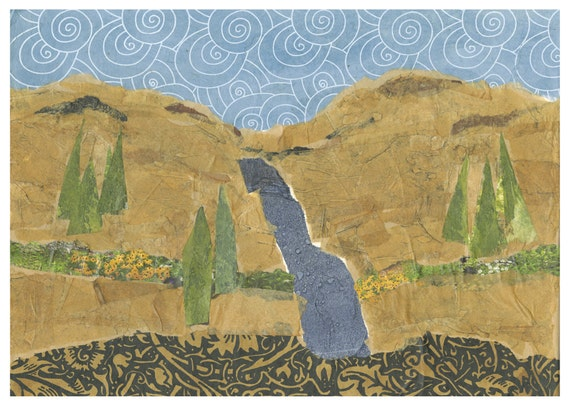 All occasion card.  Greeting card. Mountain scene. Blank card. Notecard. From original collage.  Blue and gold card.