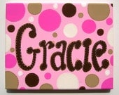 Personalized hand painted girls canvas wall art