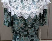 Vintage 1980s Jessica McClintock Gunne Sax Dress, Lace Collar Floral Paisley Drop Waist Dead Stock NOS with Tags Size 9