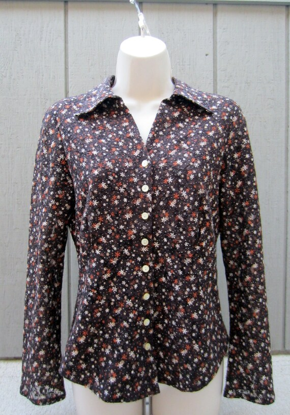 Vintage Floral Blouse, Womens Nine West Stretch Lace Empire Waist Long Sleeve Shirt Top Size Small S