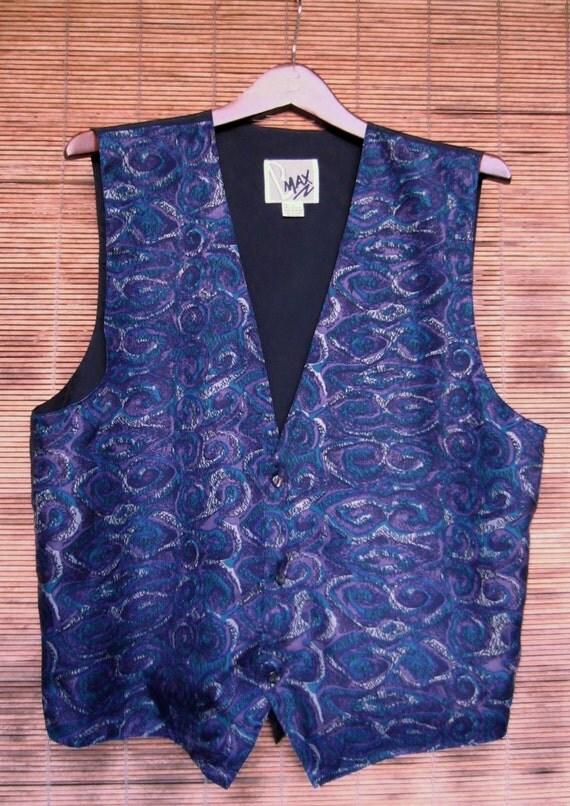 Vintage 1980s Silk Vest Blue Purple Teal Mens Large L
