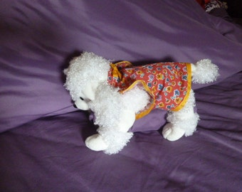 Dog Clothes, Adorable  Puppy Dress In a Floral Motif in  Orange and  Gold With Butterfly Sleeves and a Gold Ribbed Bow