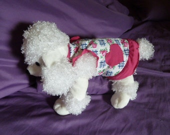 Dog Clothes, An Adorable Extra Small Puppy Dress with Hot Pink Hearts and Ruffles on Blue Checks and Pink Rose Print on White
