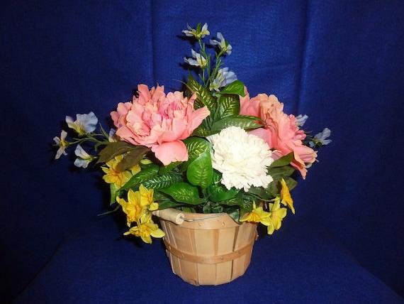 Silk Flower Arrangement, Center Piece, Artificial Flowers, Bushel Basket of Flowers, Decorative Flowers
