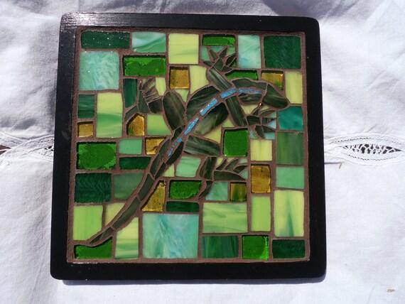 Upcycled Green Lizard Mosaic Trivet Coaster Art