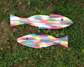 LARGE handcarved and handpainted wooden fish-hangs with metal bracket, vertically or horizontally