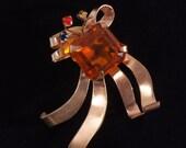 Chunky Amber Vintage Rhinestone brooch
