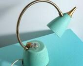 Vintage Aqua Gooseneck Metal Lamp
