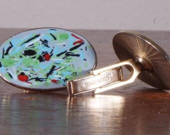 Vintage Enamel cufflinks tie bar Confetti