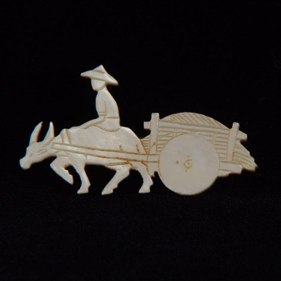 Vintage MOP oxcart Brooch