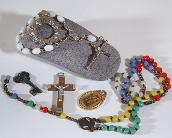 lot of religous items Altered Art rosary medals