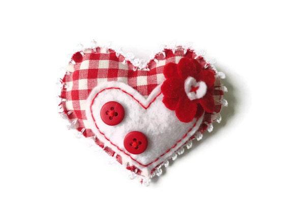 Felt brooch-brooch felt-felt pin-felt heart brooch-fabric brooch-heart brooch-white felt-felt jewelry,-felt accessories-red fabric brooch