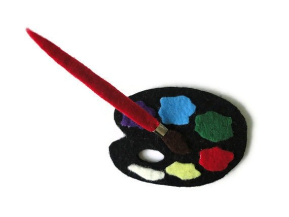Felt brooch-brooch felt-felt pin-felt  painting palette brooch-painting palette brooch-accessories brooch-felt jewelry-felt accessories