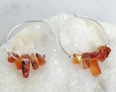 Carnelian Hoop Earrings, Sterling Silver Hoops, Sterling Silver Beads