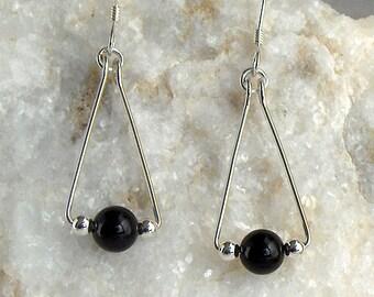 Sterling Silver Black Onyx Triangle Earrings, Sterling Silver Beads, Sterling Silver Earwires