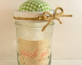 Gingham Mason Jar Pin Cushion GREEN - Great Gift & Many Uses