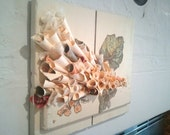 Paper flowers bouquet on salvaged wood. Wall art.