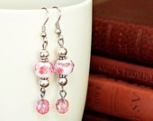 Dangle Earrings- Whimsy Pink and Silver, Breast Cancer Awareness Month