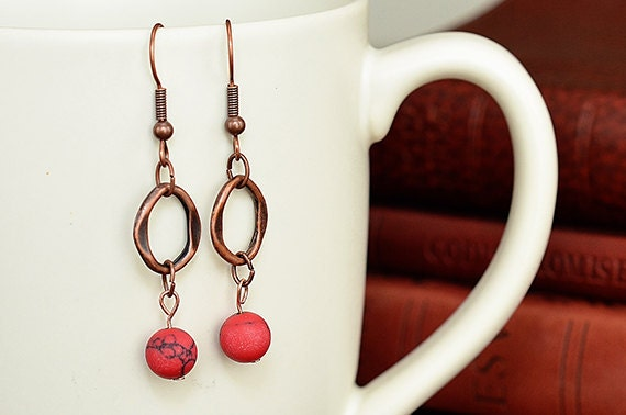 Copper Dangle Earrings with coral colored bead