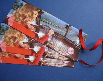 Vintage Road Trip Retro 1950s Automobile Bookmark or Gift Tag