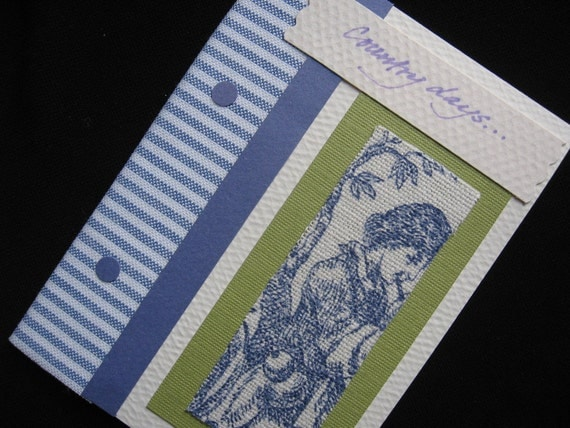 "All Occasion Blue Toile ""Country Days"" Fabric Note Card with Blue Fabric Ticking Stripes, 3 1/2  x 4 7/8"