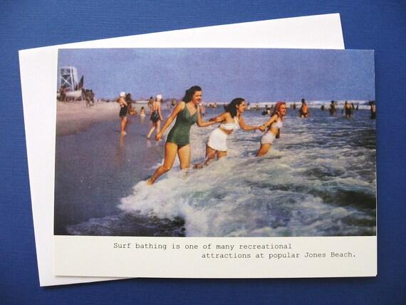 Retro Jones Beach Vintage Fun in the Sun Blank Note Card, 5 x 7