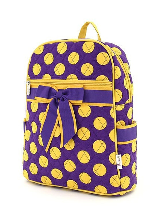 Personalized Quilted Purple & Gold  Polka Dot Large Backpack