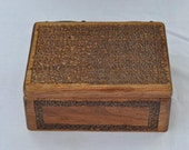 Hand Carved Wooden Keepsake Box with Islamic Tile Design