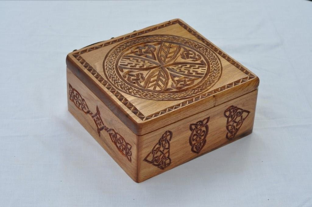 Chip carved celtic designed butternut box