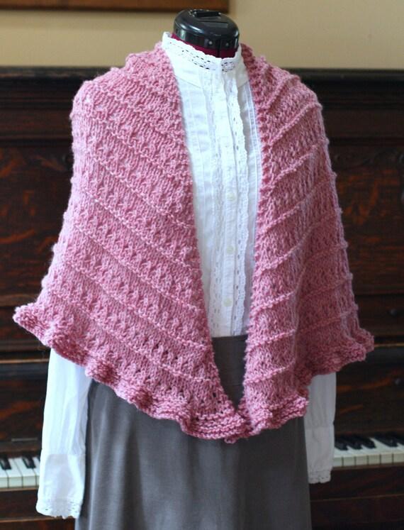 Hand Knit Mauve Wool Blend Shawl Ready to Ship