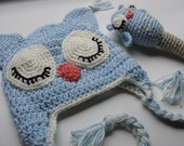 Owl Be Sleeping Crochet Owl Hat and Rattle Set CUSTOMIZE Choose Your Own Colors