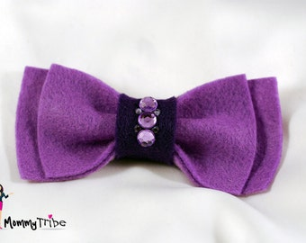 Men's Bow Tie: Purple Ribbon Bow Tie with Swarovski Crystals, Bow Ties, Purple Bow Ties, Bowties, Custom Bowites, Wedding Bow Ties