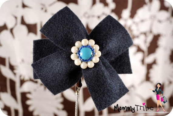 Blue Felt Ribbon Flower Hair Clip with Crystals and Pearls
