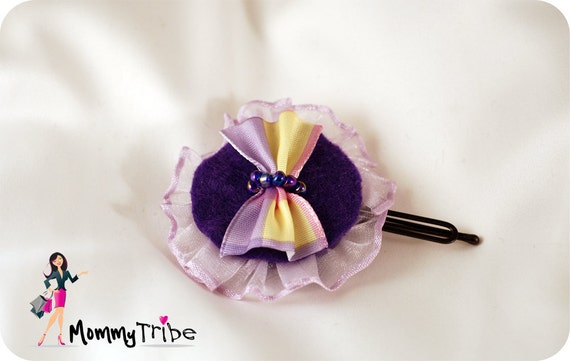 Girls Purple Ribbon Flower Hair Clip with Beads