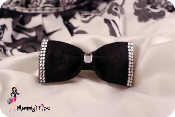 Gorgeous Black Bow Tie with Sparkling Crystals, Boys Bow Ties, Bow Ties, Black Bow Ties, Custom Bowites, Wedding Bow Ties