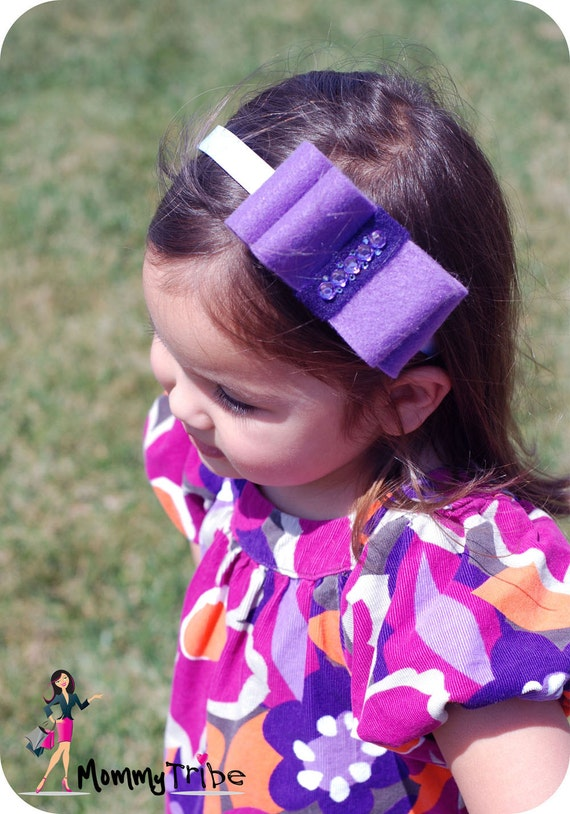 Purple Bows, White Headband, Double Layered Bows Swarovski Crystals Felt Ribbon Fascinator for the Bride, Bridesmaids, Children