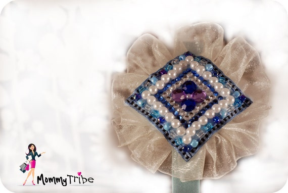 Sky Blue Flower Satin Ribbon Headband