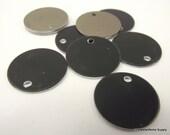 50 0.69 Inch Black Anodized Aluminum Tags, Medium Blank Discs