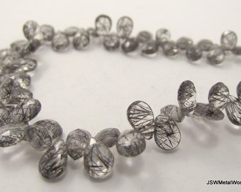 Tourmalinated Quartz Briolette Beads, Faceted Pear Briolettes, Luxe Beads, Quarter strand