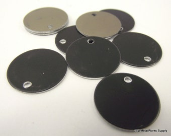 50 0.69 Inch Black Anodized Aluminum Tags, Medium Blank Discs