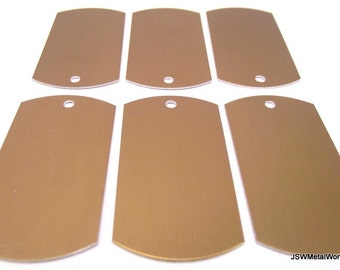 12 Large Bronze Anodized Aluminum Dog Tags, Large Blank Discs, Blank Stamping Tags
