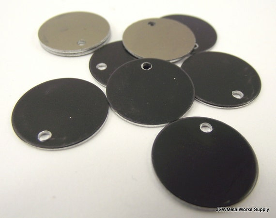 Inch black anodized aluminum tags medium blank discs