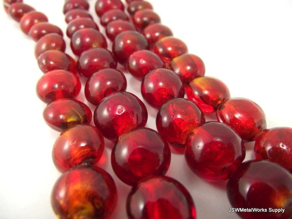 Red Glass Beads, Puffed Round 13mm Bead, 7.5 inch Strand, Whole Strand