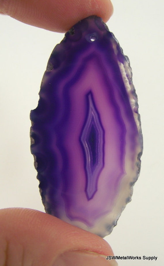 Purple Agate Slice, Medium Drusy Pendant, Purple Druzy