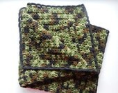 Baby Afghan - Camouflage With Black Trim