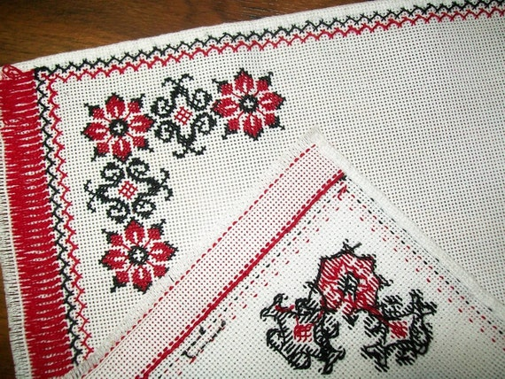 Handmade Cross-Stitched Table Topper/ Table runner/ Table Cloth