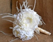Wedding Bridal Bouquets Your Colors Ivory Peony Vintage Style Bouquet with Sparkly Pearl Accents and Feathers Centerpiece Chic FREE SHIPPING