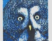 Owl Woodblock Print