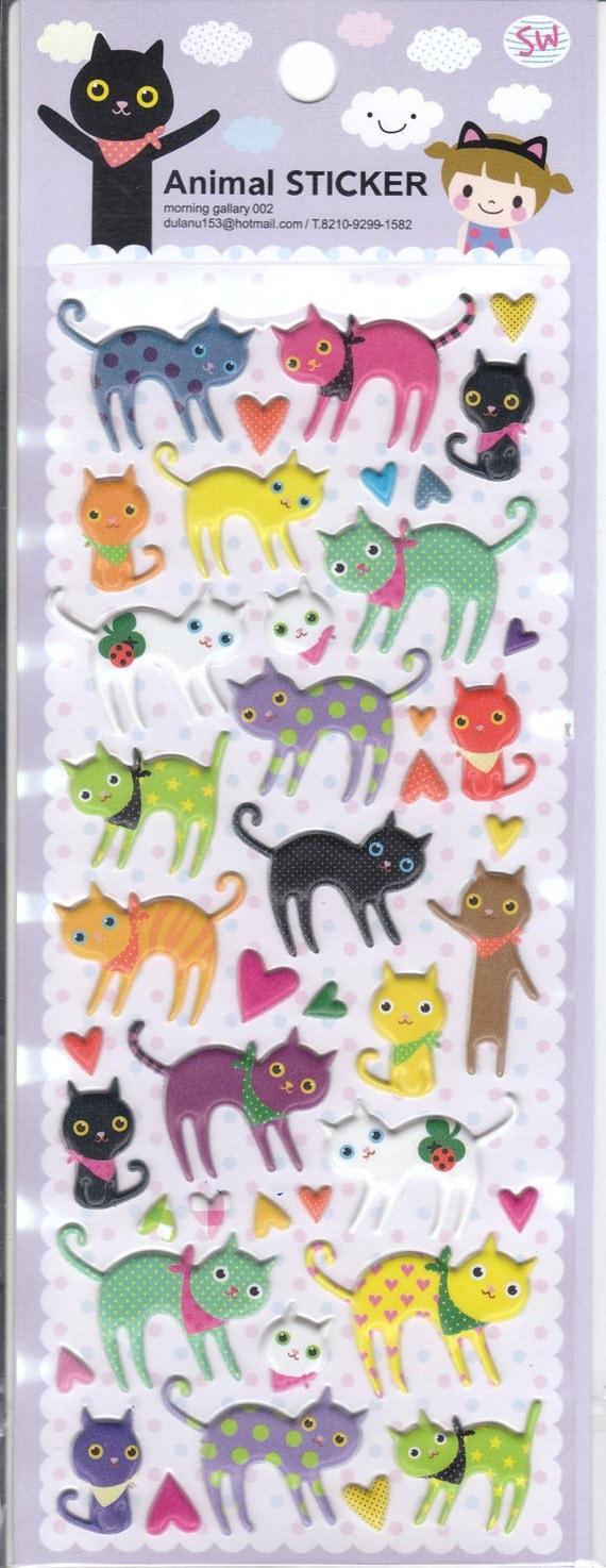 Kawaii Korean Super Cute Cat Puffy Animal Stickers - Perfect for scrapbooking, card-making, dairy, journaling, etc.